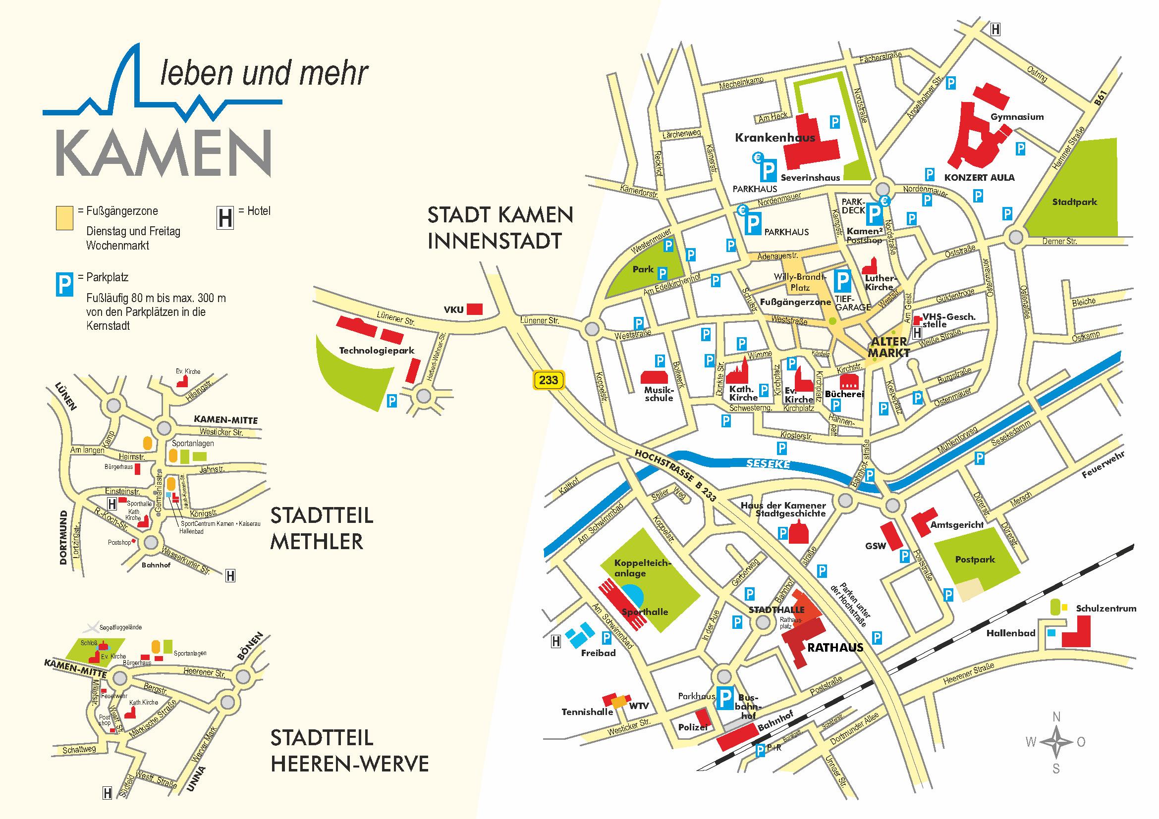 Innenstadtplan und Nebenzentren